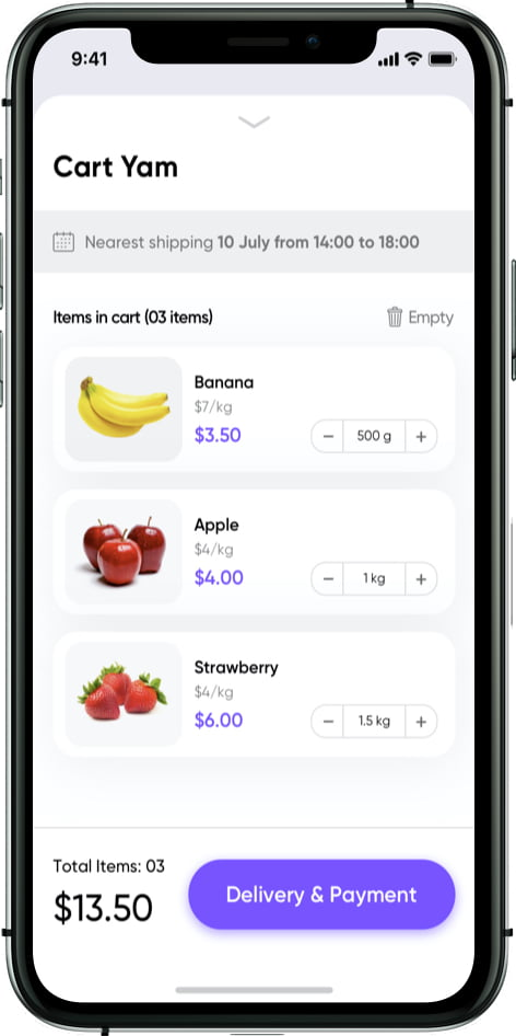 grocery store app cart