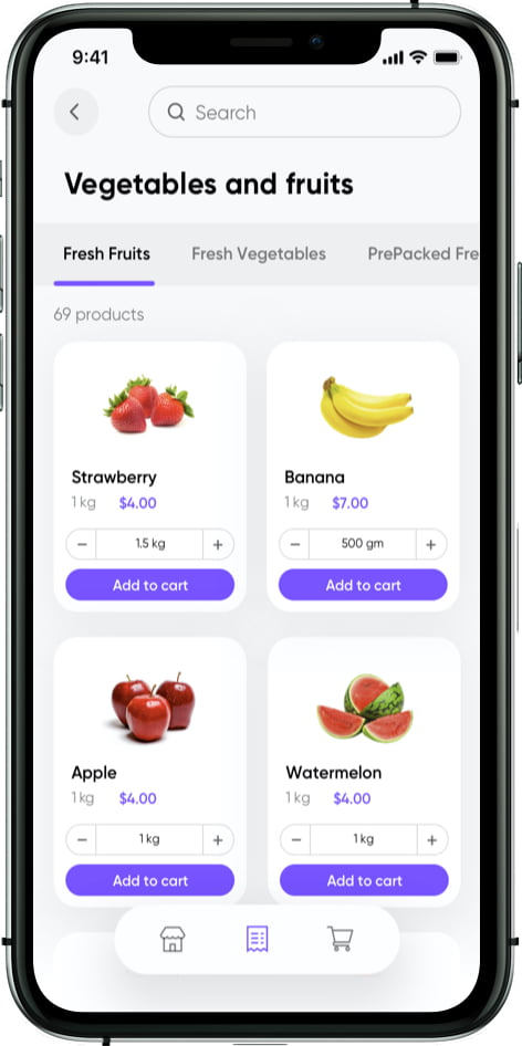 grocery store app products listing